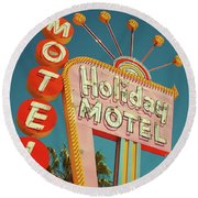 Holiday Motel, Las Vegas Round Beach Towel
