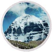 Holy Kailas North Slop Himalayas Tibet Yantra.lv Round Beach Towel