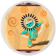 Dancing Hopi Sun Face Kachina Doll Round Beach Towel