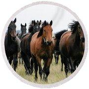 Horse Herd On The Hungarian Puszta Round Beach Towel