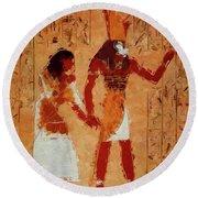 Horus, Egyptian God By Mary Bassett Round Beach Towel
