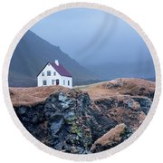 House On Ocean Cliff In Iceland Round Beach Towel by Joe Belanger