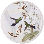 Hummingbirds Round Beach Towel by John Gould