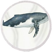 Humpback Whale Round Beach Towel by Juan Bosco