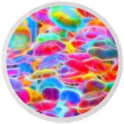 In Color Abstract 9 Round Beach Towel by Cathy Anderson