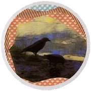 Round Beach Towel featuring the photograph In The Shadows by Kathie Chicoine