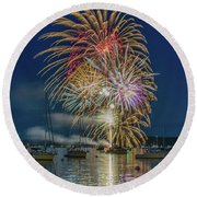Independence Day Fireworks In Boothbay Harbor Round Beach Towel