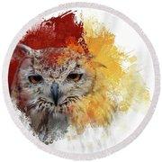 Indian Eagle-owl Round Beach Towel