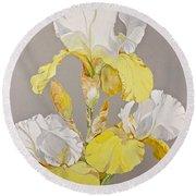 Irises-posthumously Presented Paintings Of Sachi Spohn  Round Beach Towel