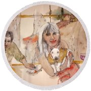 Round Beach Towel featuring the painting Italy Love Life And  Linguini Album by Debbi Saccomanno Chan