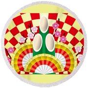 Japanese Newyear Decoration Round Beach Towel