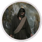 Jesus Christ- Rise And Walk With Me  Round Beach Towel