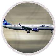 Jetblue Airways Embraer Erj-190ar Round Beach Towel