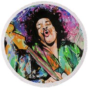 Jimi Hendrix Round Beach Towel by Richard Day