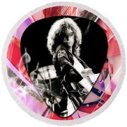 Jimmy Page Led Zeppelin Art Round Beach Towel