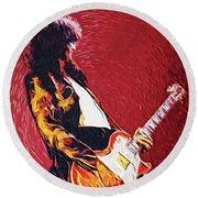 Jimmy Page II Round Beach Towel by Taylan Apukovska