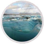 Jokulsarlon The Glacier Lagoon, Iceland 2 Round Beach Towel