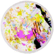 Round Beach Towel featuring the mixed media Kaka by Svelby Art