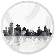 Kansas City Missouri Skyline Round Beach Towel