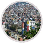 Kathmandu City In Nepal Round Beach Towel