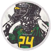 Round Beach Towel featuring the drawing Kenjon Barner 1 by Jeremiah Colley