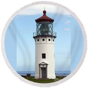 Kilauea Lighthouse On Kauai Round Beach Towel