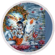 Krishna Round Beach Towel
