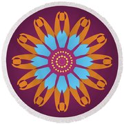 Landscape Purple Back And Abstract Orange And Blue Star Round Beach Towel