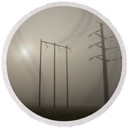 Large Transmission Towers In Fog Round Beach Towel