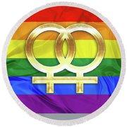 Lesbian Symbols Round Beach Towel