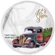 Let It Snow Round Beach Towel