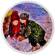 Let It Snow..let It Snow..  Round Beach Towel