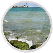 Lighthouse In Sea Round Beach Towel