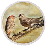 2 Little Love Birds Round Beach Towel