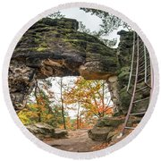 Round Beach Towel featuring the photograph Little Pravcice Gate - Famous Natural Sandstone Arch by Michal Boubin