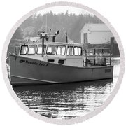 Round Beach Towel featuring the photograph Lobster Boat by Trace Kittrell