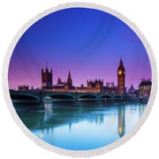 London Big Ben  Round Beach Towel