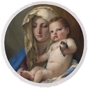 Madonna Of The Goldfinch Round Beach Towel by Giovanni Battista Tiepolo