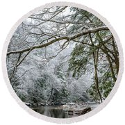 Round Beach Towel featuring the photograph March Snow Along Cranberry River by Thomas R Fletcher