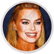 Margot Robbie Art Round Beach Towel