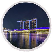 Marina Bay Sands And The Artscience Museum In Singapore Round Beach Towel