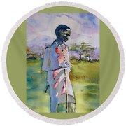 Masaai Boy Round Beach Towel