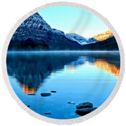Round Beach Towel featuring the photograph 2 Medicine Morning Glow by Adam Jewell