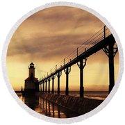 Michigan City Lighthouse Round Beach Towel