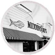 Middendorf's - Bw Round Beach Towel
