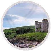 Minard Castle - Ireland Round Beach Towel
