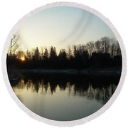 Round Beach Towel featuring the photograph Mississippi River Sunrise Reflection by Kent Lorentzen
