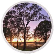 Misty Rural Scene With Dam And Trees Round Beach Towel