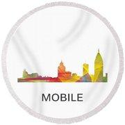 Mobile Alabama Skyline Round Beach Towel