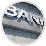 Modern Bank Building Signage Round Beach Towel